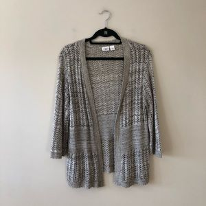 Cato brown open knit open front sweater